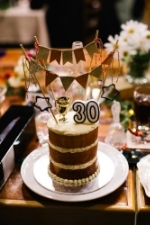 """Craig's Surprise 30th Birthday Cake, presented to him during the wedding reception. Photograph courtesy """" Mark and Kara Photography """"."""