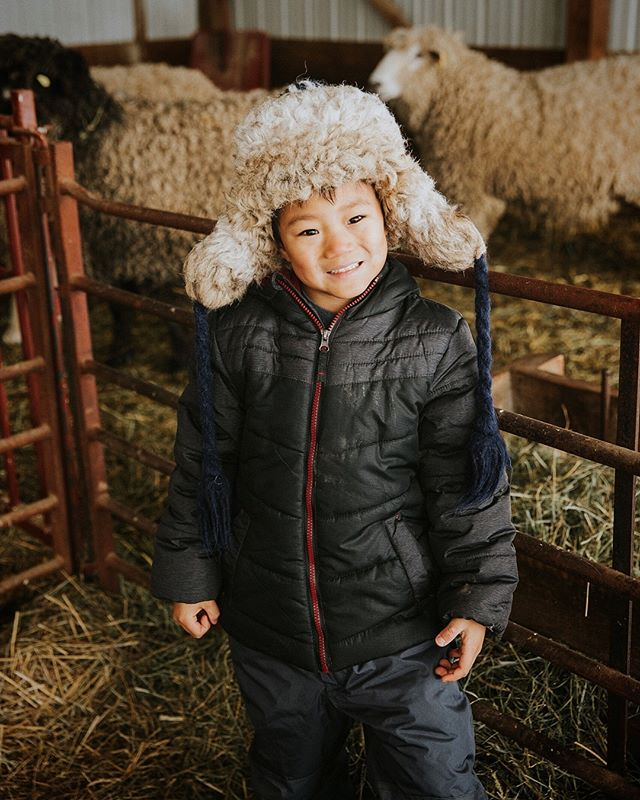 "Thanks to our friend @katiecollyer we were able to spend Sunday afternoon on a sheep farm loving on all the little lambs — some just days old.  Will doesn't especially enjoy being photographed but he was uncharacteristically silly on this day and his hat was too FANTASTIC not to share.  It was a gift from his preschool teacher and we giggle hysterically every time he wears it.  Yesterday, as we were giggling, Will said, ""I don't know why you guys are laughing...I look amazing in this thing!"" His older sister was quick to point out that his hat looked just like the backside of the sheep he was standing next to. At that point we were in tears but Will never wavered — his hat stayed on for the entire field trip.  #growinguptrusty #bearcub"