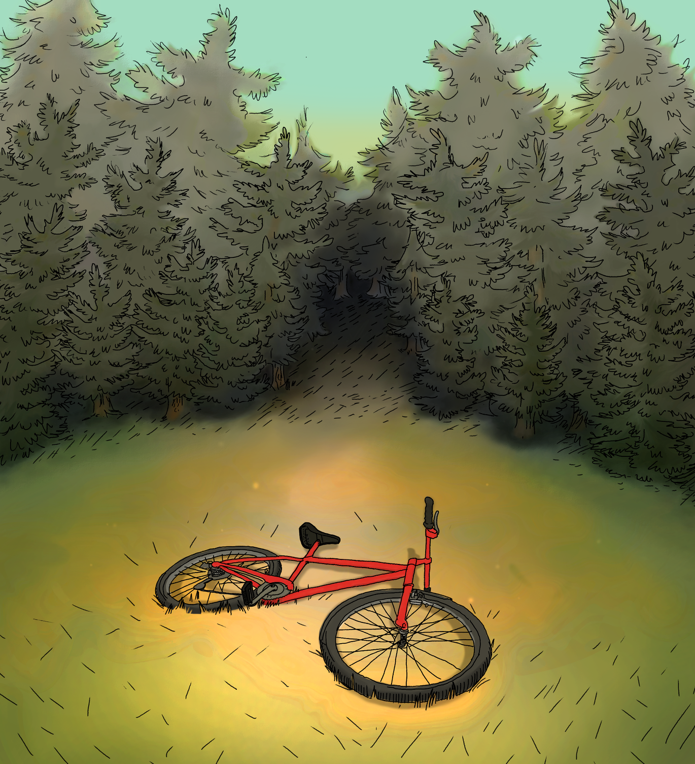 Bike in grass, 2015 Or Gotham