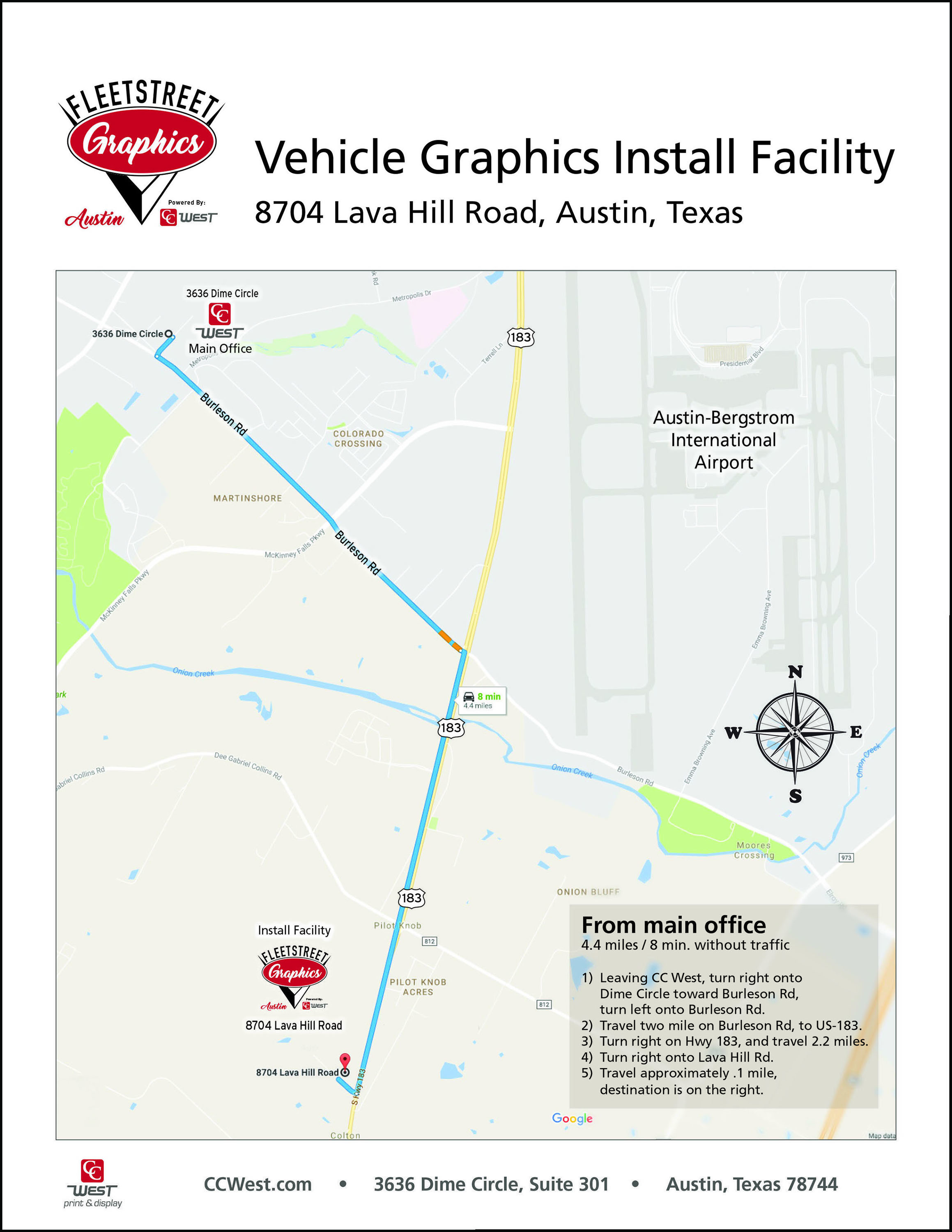 For directions to our vehicle graphics facility, click the map above.