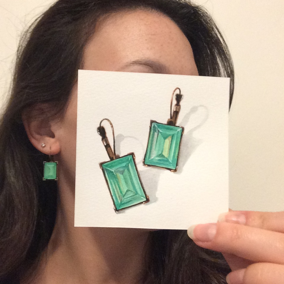 Little Paintings of my Favorite Things #5 - Ghost Earrings from Mom