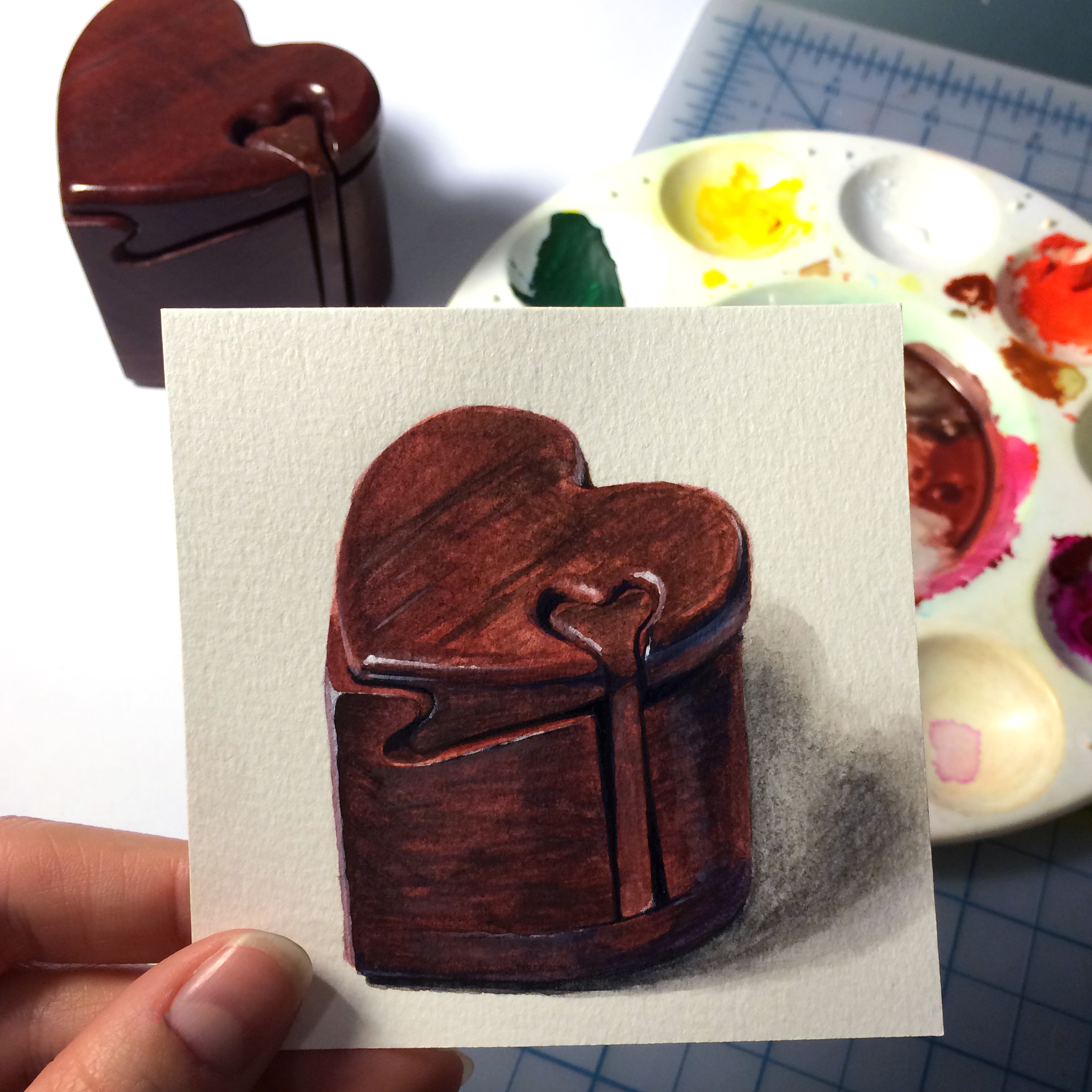Little Paintings of my Favorite Things #3 - Puzzle Box from Grandma