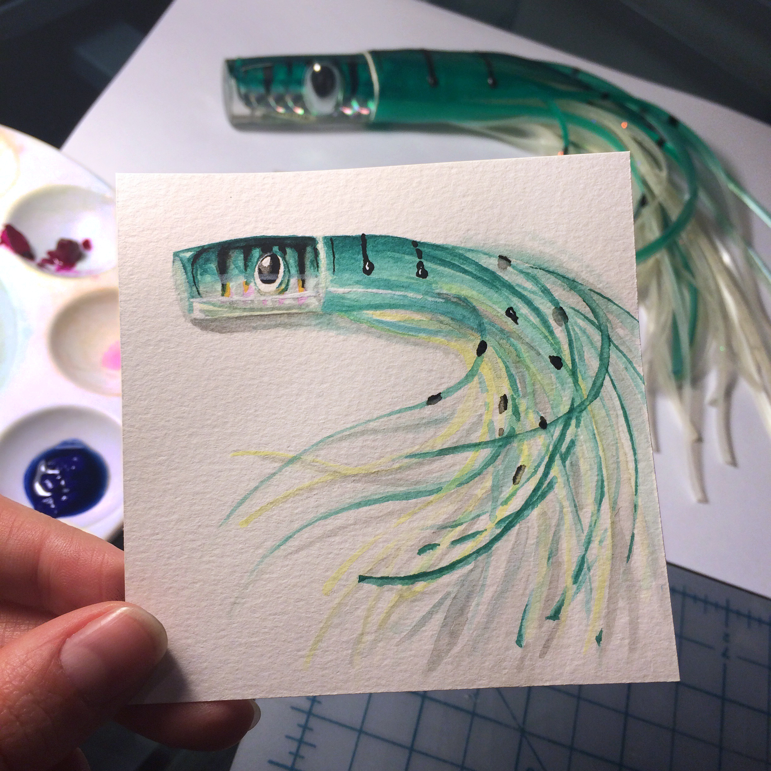 Little Paintings of my Favorite Things #1 - Grandpa's Fishing Lure