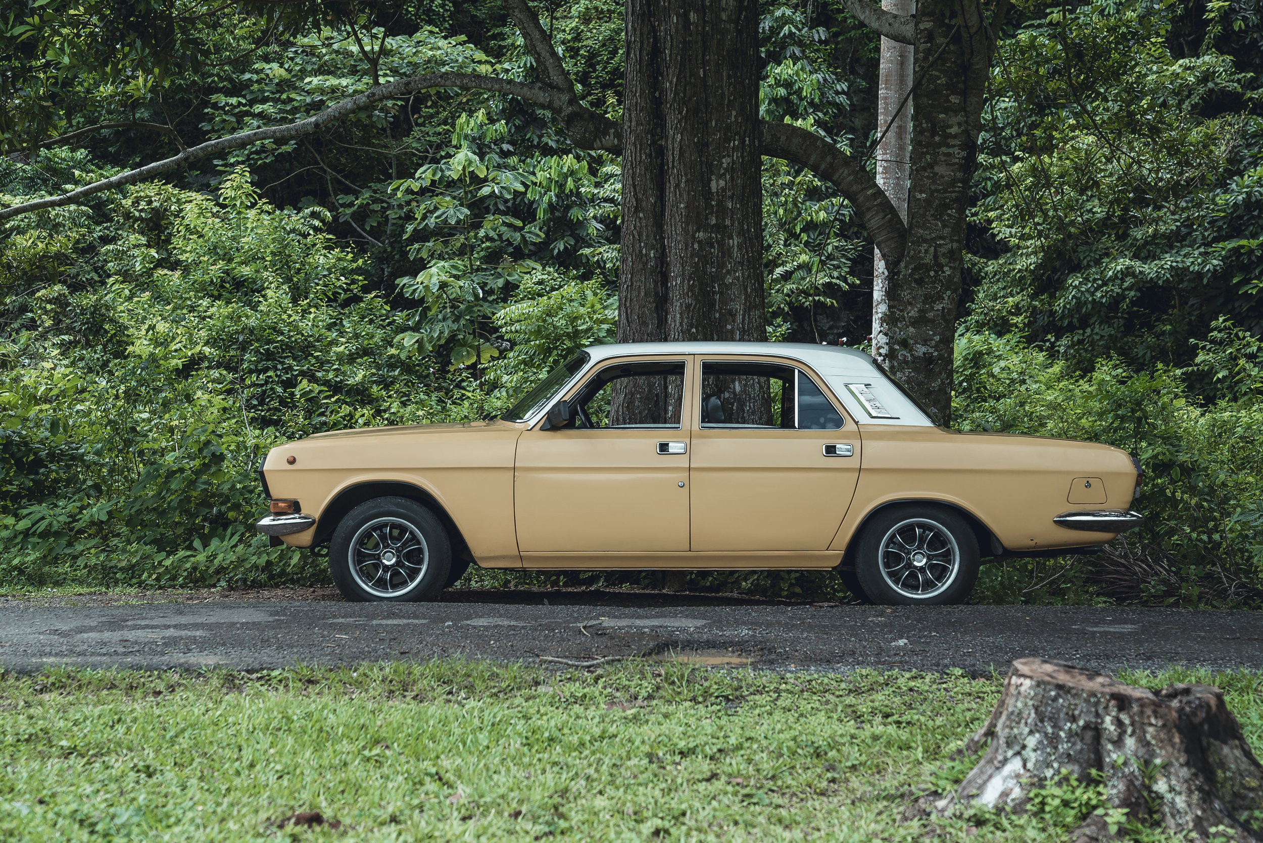 My son and I rode in the back seat of this vehicle on a two hour journey to the farmlands of Cuba. It was a long ride with no air conditioner that included one stop at a small rest area.