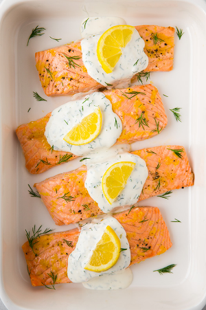 Baked Lemon Salmon with Creamy Dill Sauce  from Cooking Classy