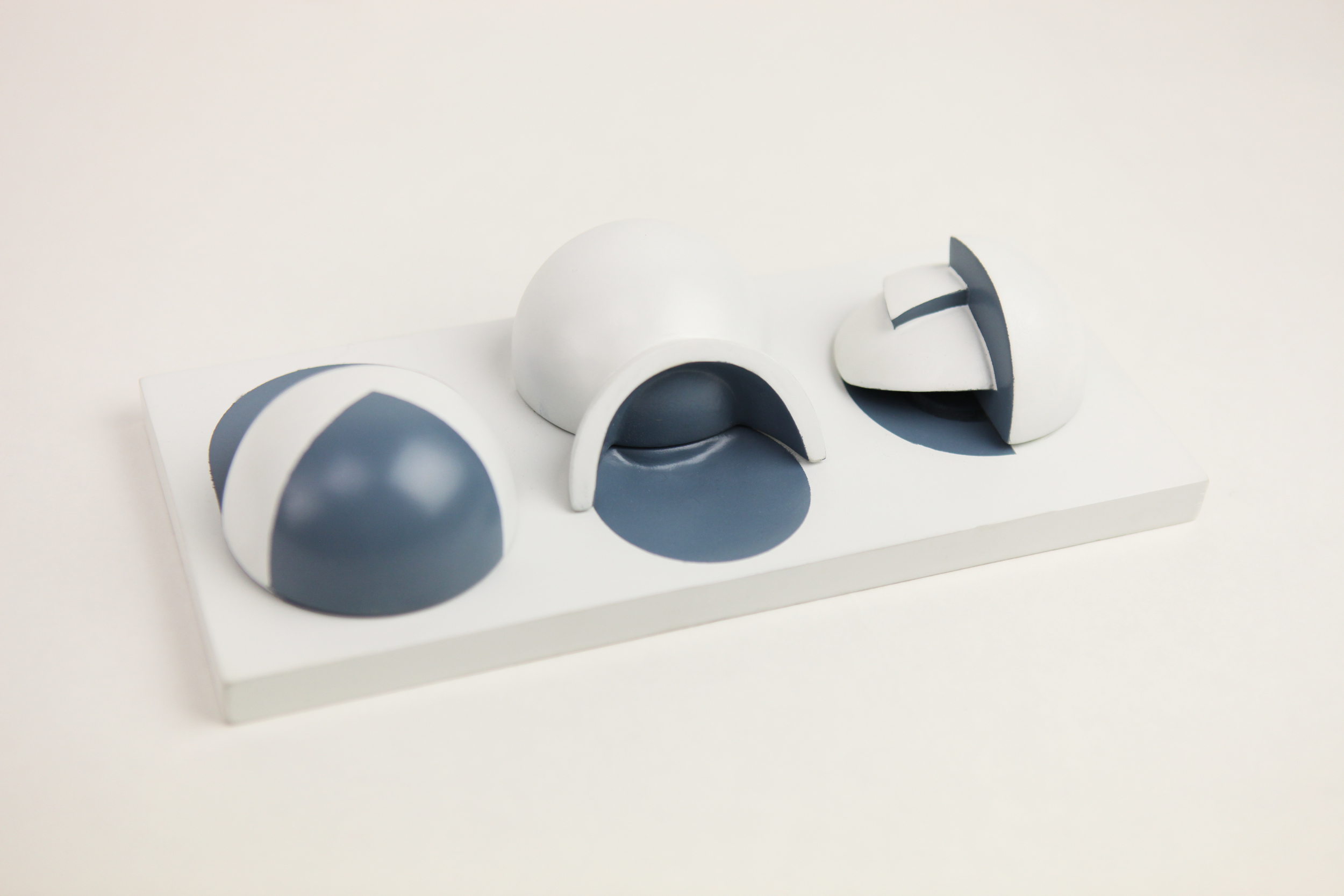 These forms are based off of hemispheres and some various ways to cut and resemble pieces of a sphere.