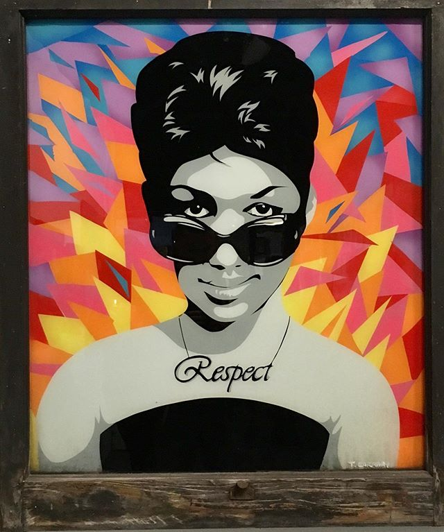Aretha  Acrylic on glass  DM if interested.  #arethafranklin #galleryart #soul #vintage #contemporaryart #color #paint