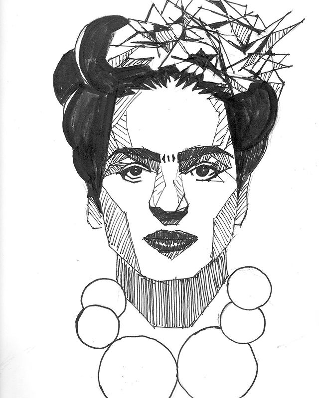 Trying out some new portrait styles in the sketchbook lately. Here's Frida.  #frida #sketchbook #penandink #marker
