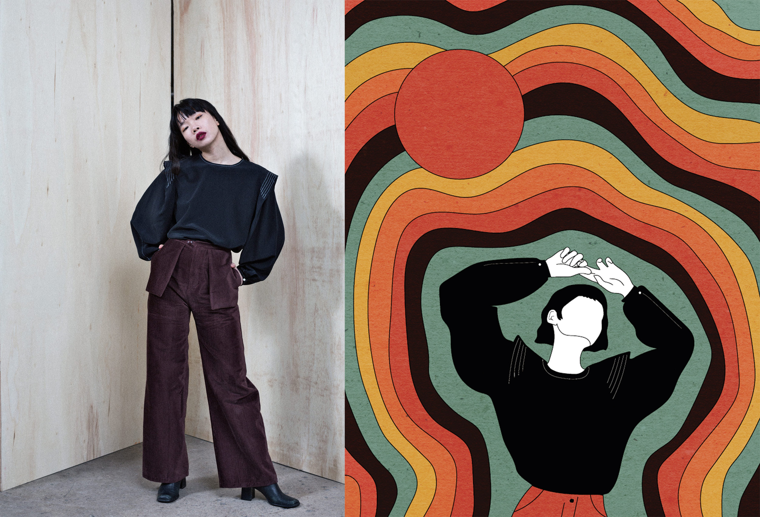 The Edith top Photographed by Colin Simmons, Illustrated by Holly Stapleton