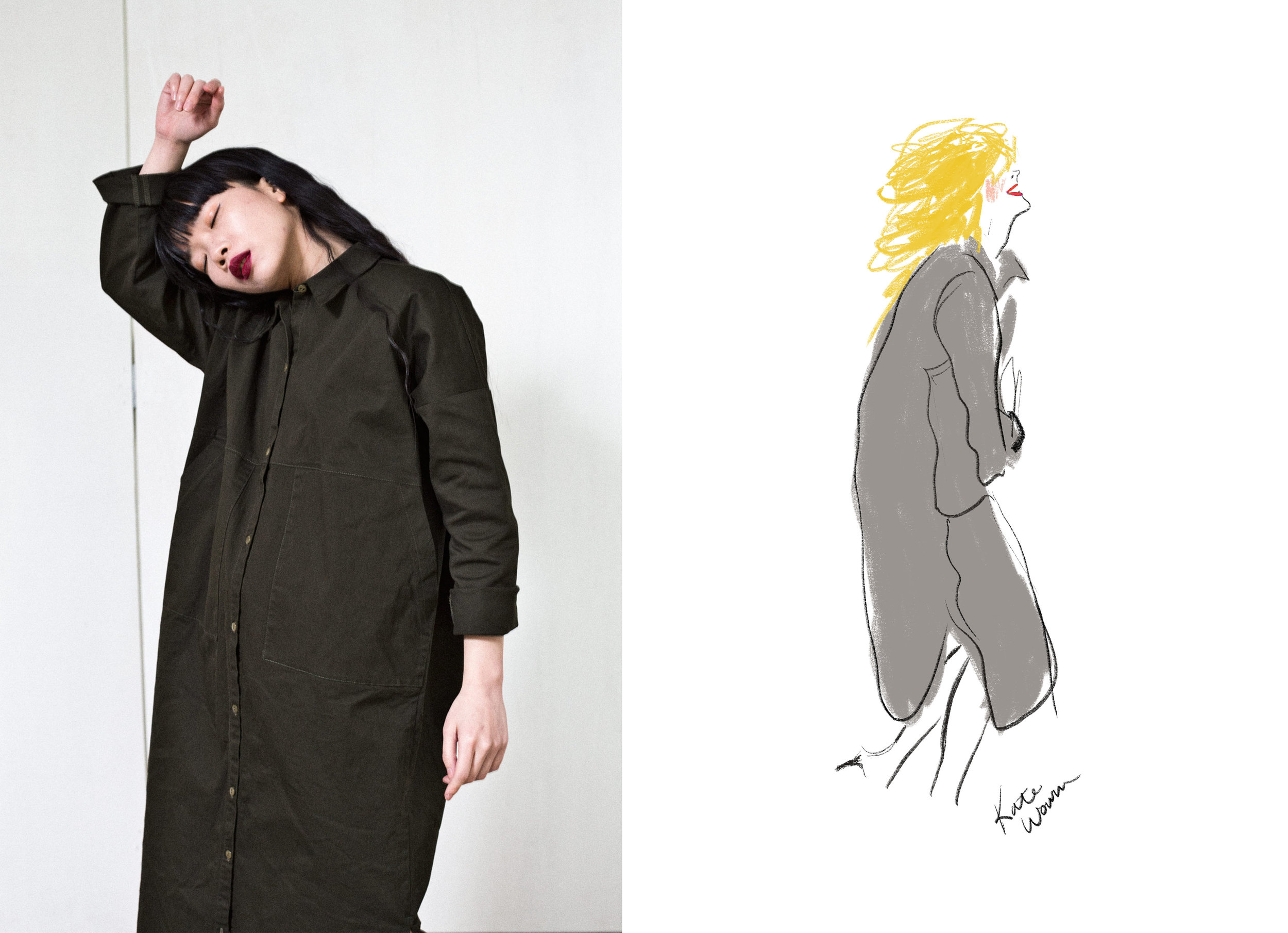 The Ines Jacket/Dress Photographed by Colin Simmons, Illustrated by Kate Worum