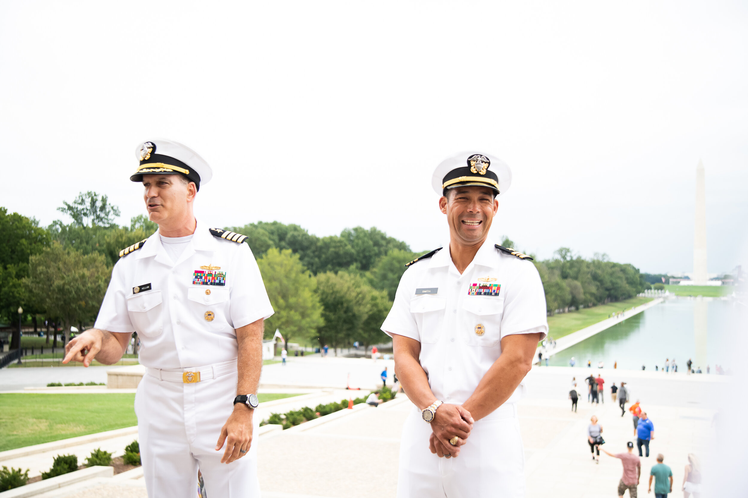 Military promotion photography at the Lincoln Memorial in Washington DC
