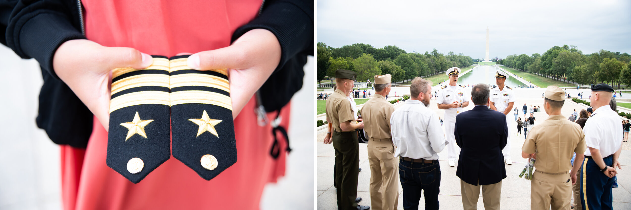 Military promotion at the Lincoln Memorial in Washington DC
