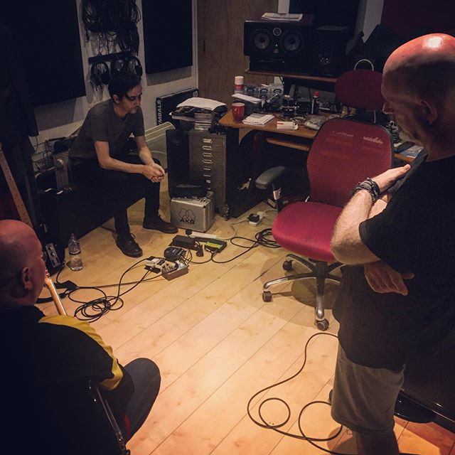 Serious listening amongst the gentlemen from #panixphere, recording something here today. They'll be performing with their #cardiacs familiars @spratleysjaps at Brighton's @greendoorstore in December. #brightonmusicscene #brightonmusic #timsmith #cardiacsband #alphabetbusinessconcern #recordingstudio #avantgarderock #postrock
