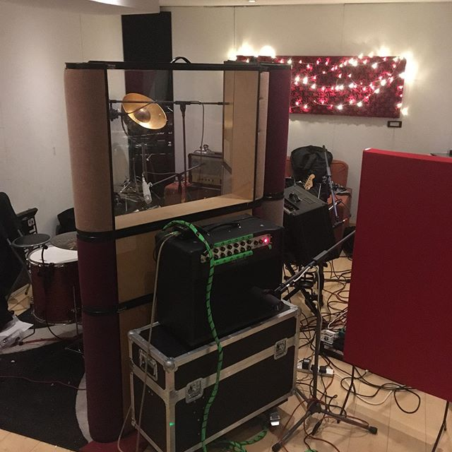 "Live room transformation for a ""live in the studio"" session across 5 hours. No headphones, no overdubbing (at least today), just get it right and get it done. Great value for a tight band at only £110 for 5 hours (mix and master not included). #recordingstudio #brightonmusic #brightonmusicscene #earthworksmicrophones #mesaboogie #akgmicrophones #gikacoustics"