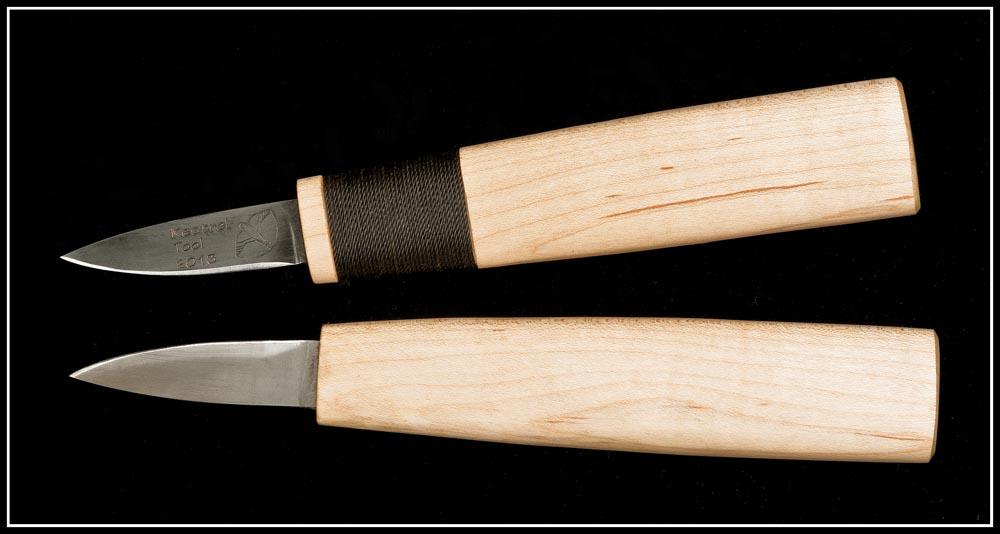 Top: Kestrel Straight Knife in deluxe mode; bottom, the utility-grade knife