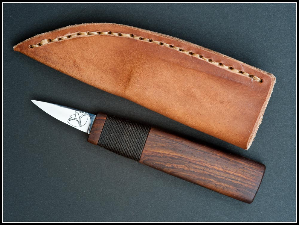 Deluxe Baby Northwest Coast straight knife with Cocobolo haft