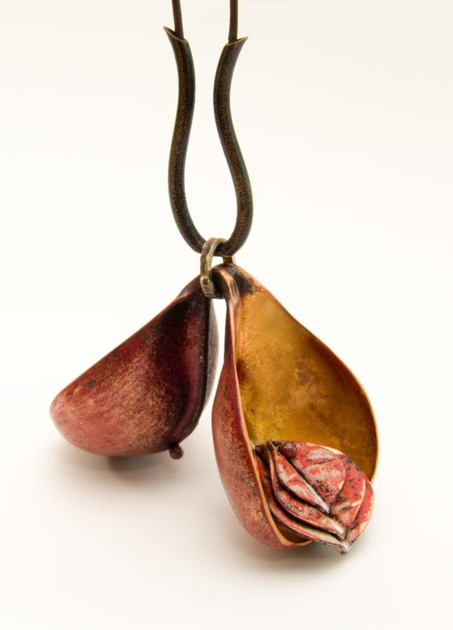 """""""Open Seed Pod, Golden."""" Enameled Copper.  (click on photo to enlarge)"""