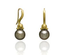 S-Hook Earrings in 22 karat gold with removable 9mm Natural flawless Tahitian Pearl drops by Denise Betesh