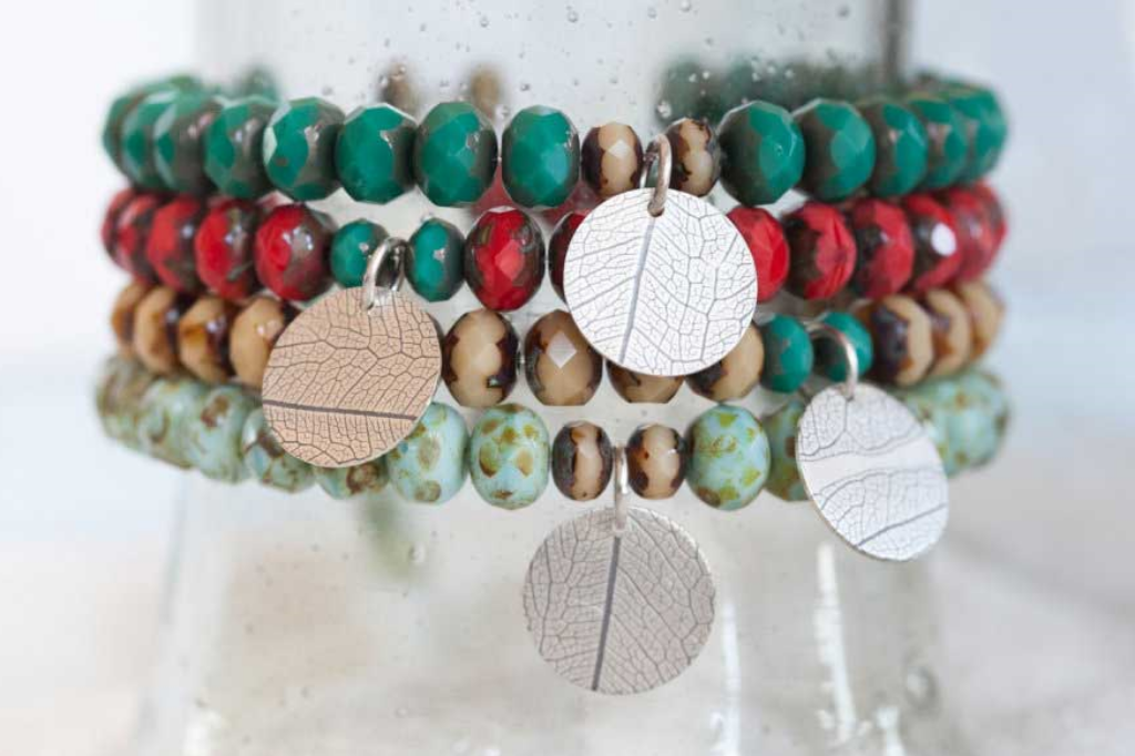 Leaf print stretch bracelets in sterling silver and Czech glass beads