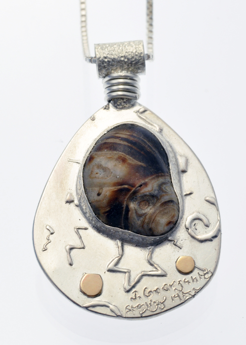 Same sterling silver pendant with snail shell and 14KY (back)