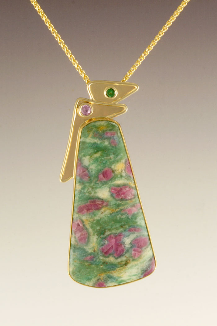 Ruby in fuchsite pendant with pink sapphire and chrome green tourmaline accents in 14 karat and 22 karat yellow gold