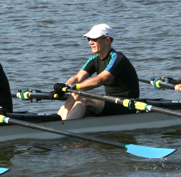 Paul in one of his favorite sports: rowing, here in a quadruple scull at Masters National Championships, 2015.