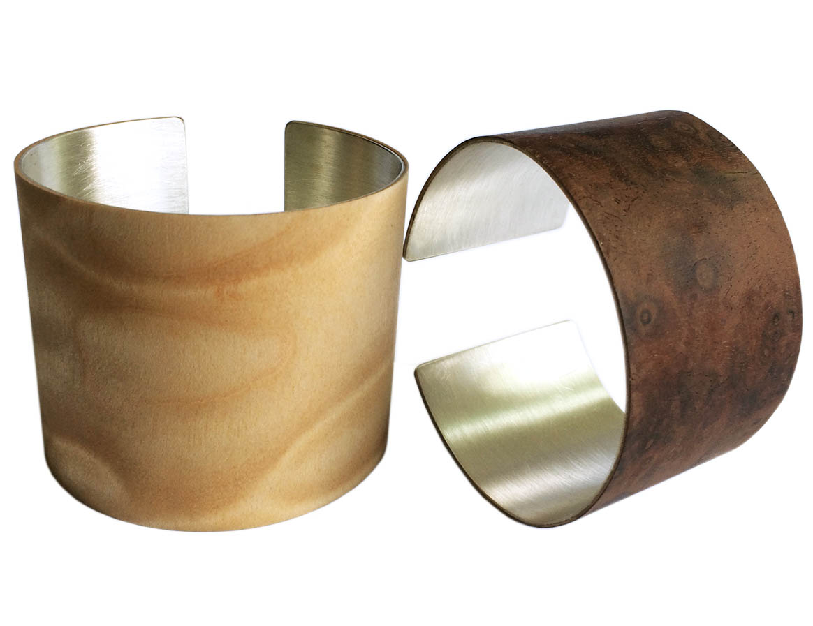 Ruthie Murray's sterling silver and wood veneer cuff bracelets.