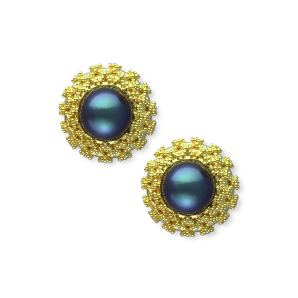 18 karat gold with 22 karat granulation and dark grey Akoya pearls