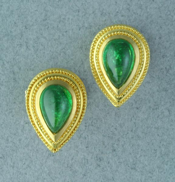 Tsavorite Garnet Earrings with 18 karat yellow gold. Note the granulation.