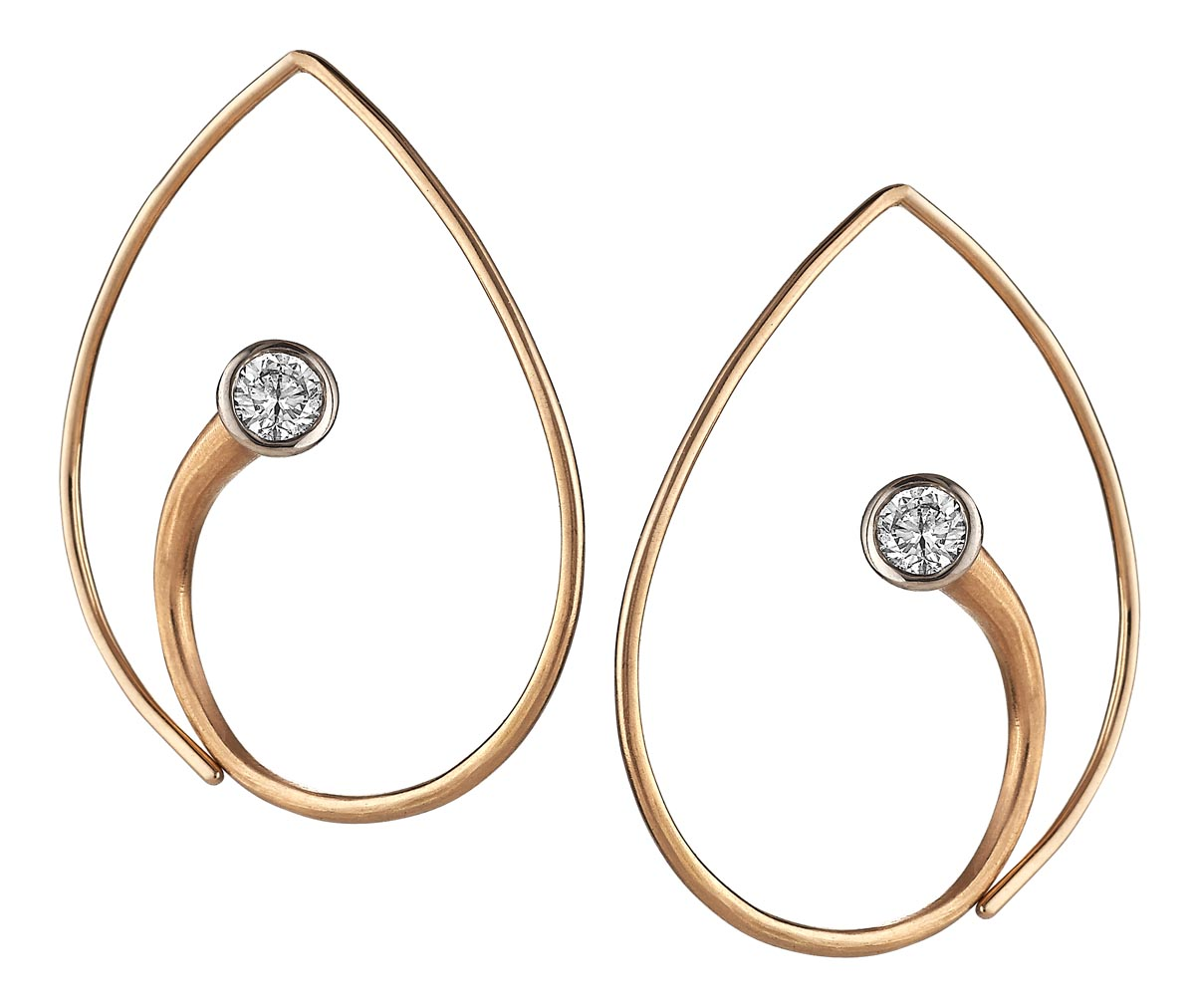 Inverted Vortex Earrings in 18 Karat Yellow gold set with 0.50 carat total weight diamonds.