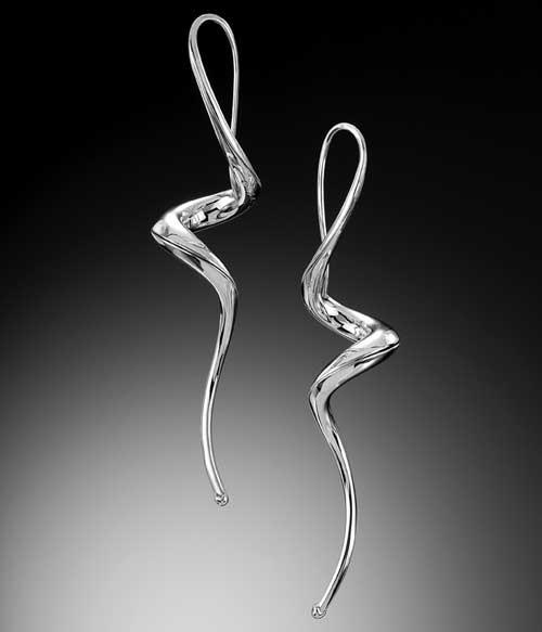 Sterling silver helicoidal earrings