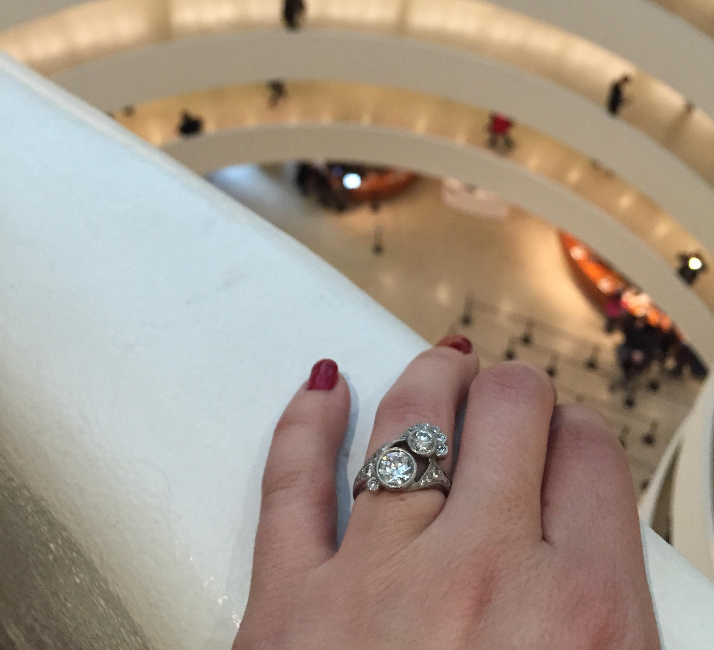 Enjoying the view at the Guggenheim