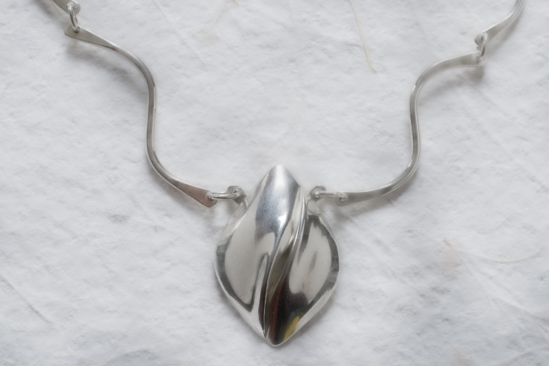 """Twisty Silver Necklace,"" sterling silver"
