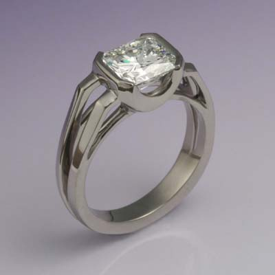 Platinum engagement ring with a radiant cut diamond designed and made by Paul Gross.