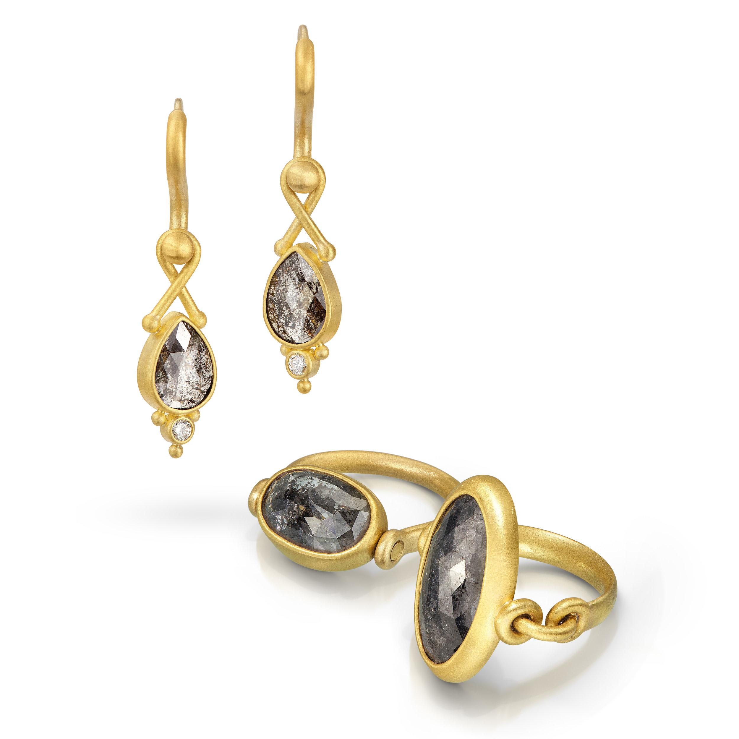 Denise Betesh earrings and rings