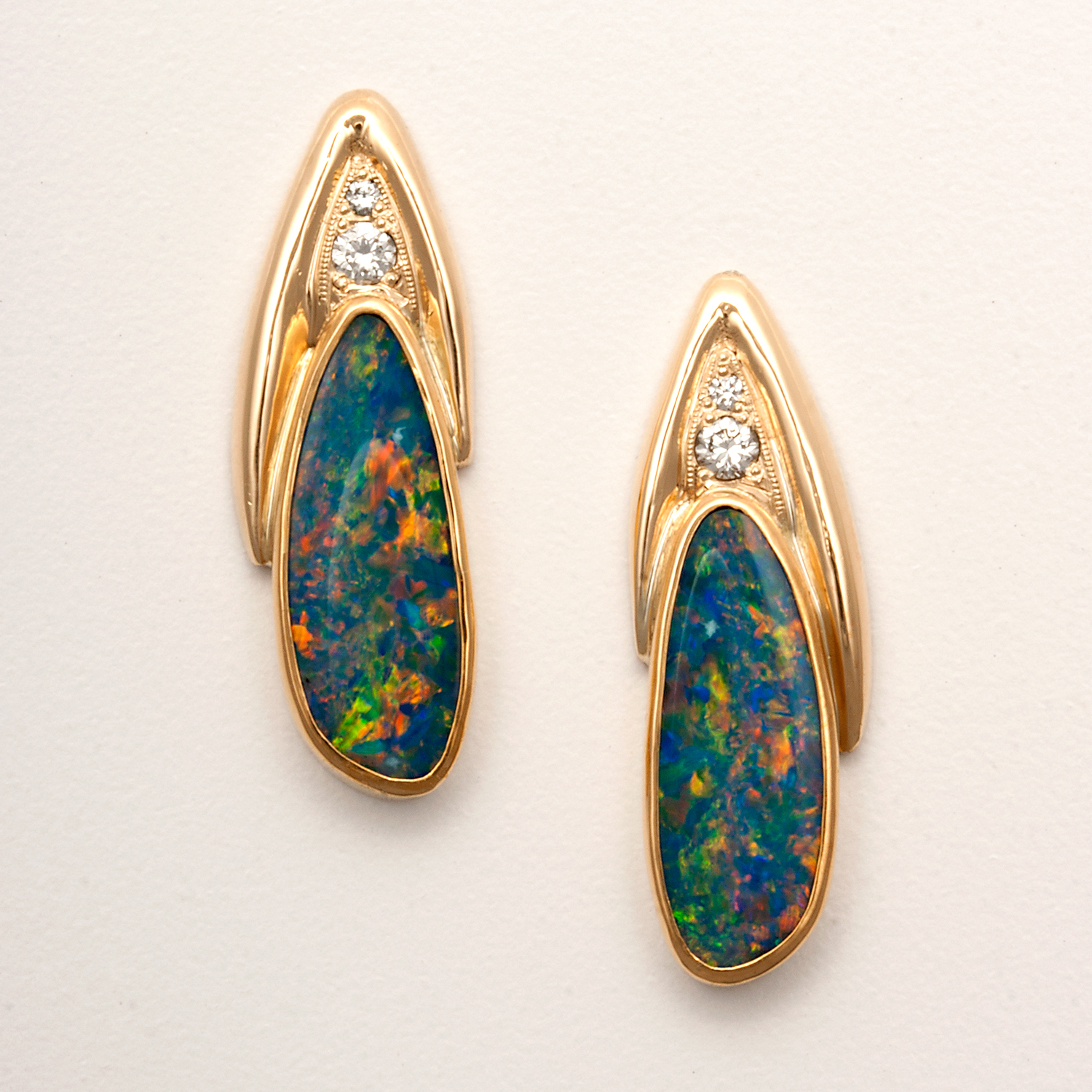 Opal Doublets and Diamond Earrings