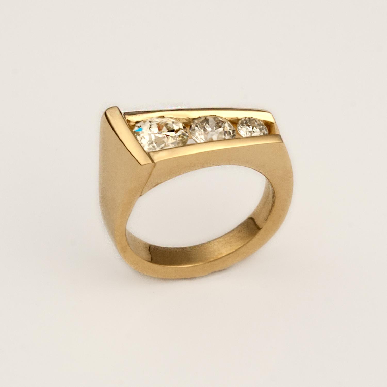 3-Diamond Engagement Ring