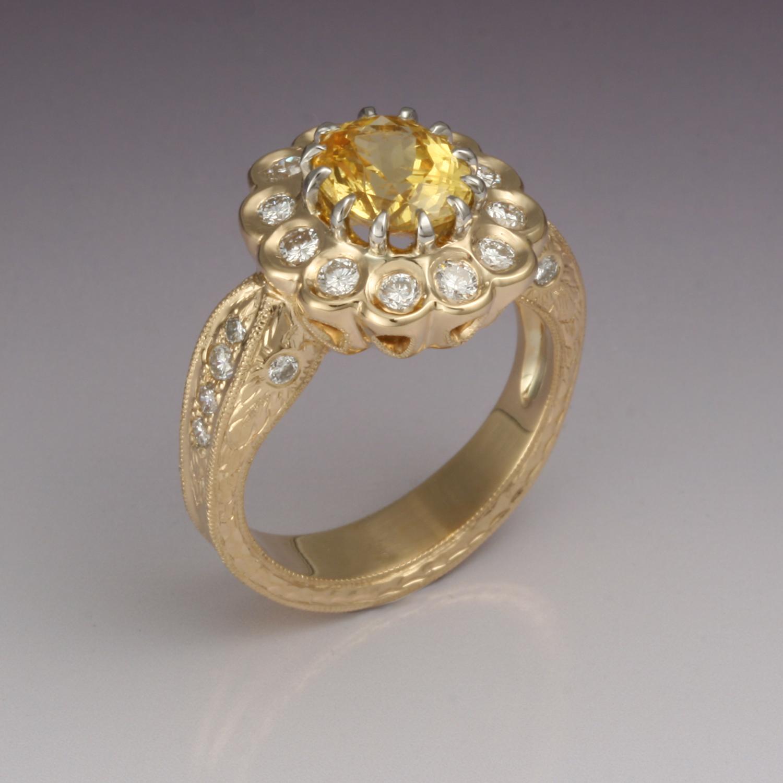 Yellow Sapphire and Diamond Ring