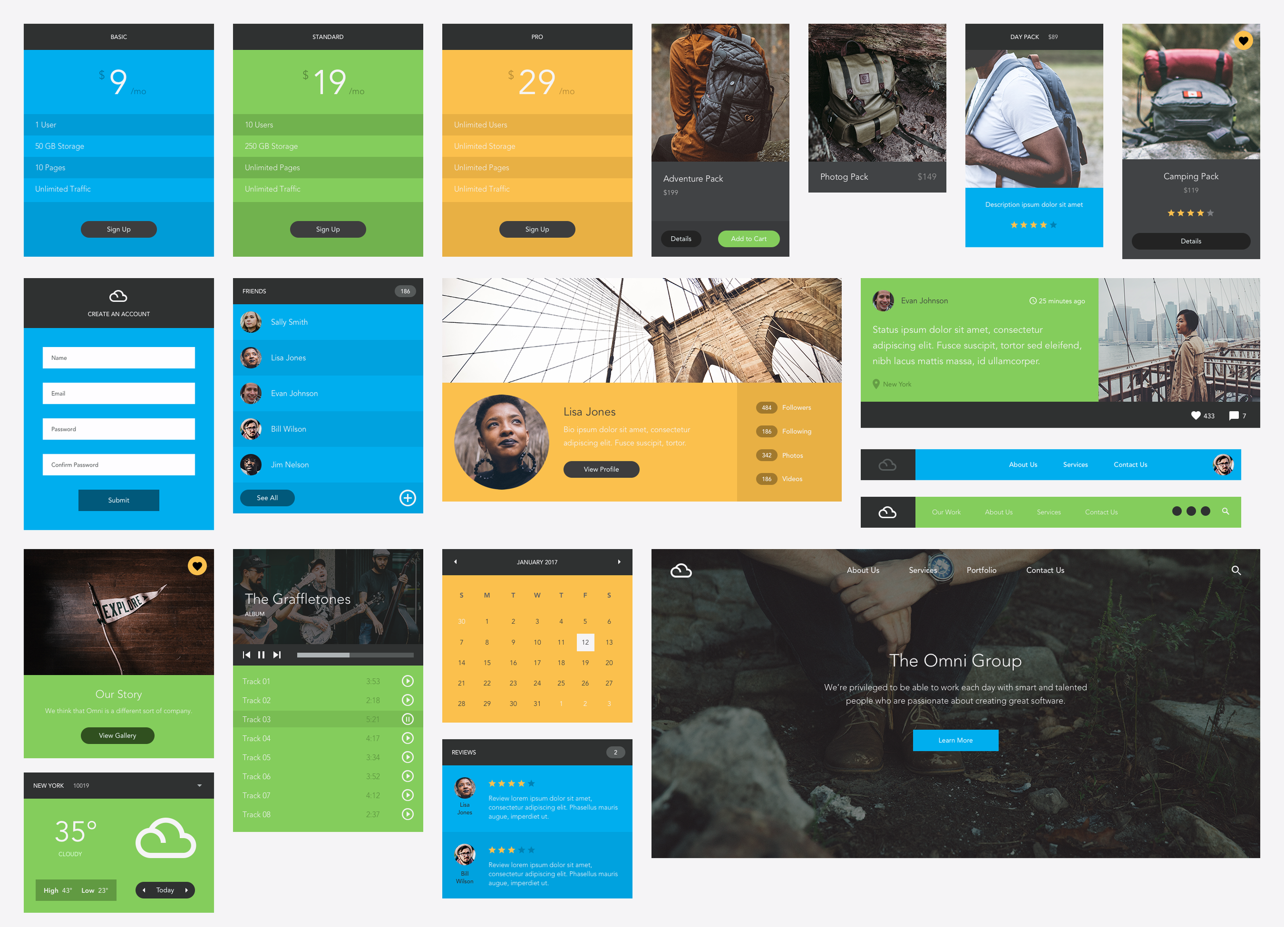 Omni UI Kit, with 9 pages of UI elements