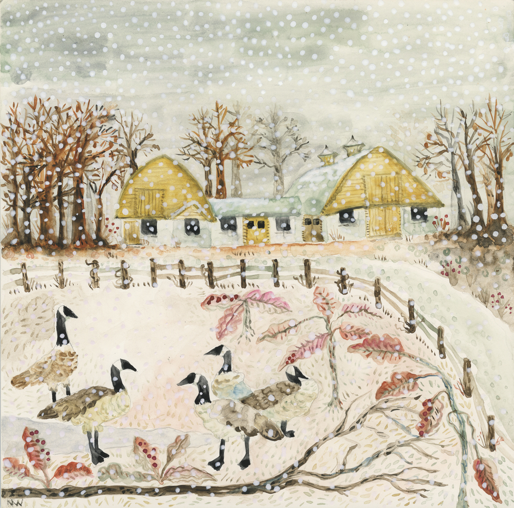 Winter Barns and Geese