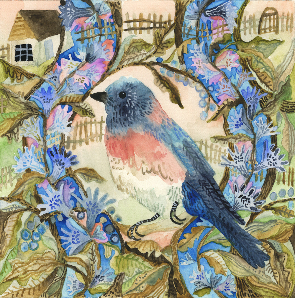 """Bluebird in Summer.""  Study for ""Bluebirds in a Country Setting."""