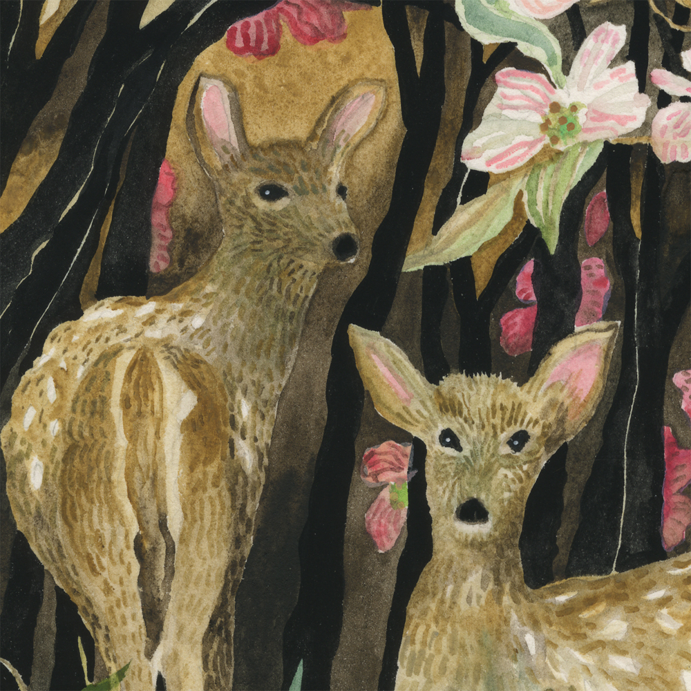 """Dogwood & Deer"" detail"