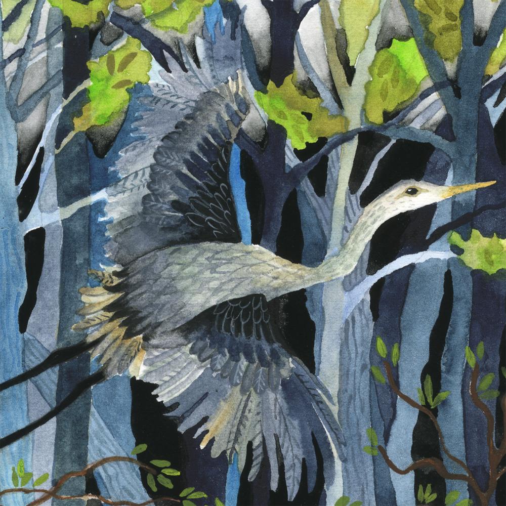 """""""Blue Heron"""" detail"""