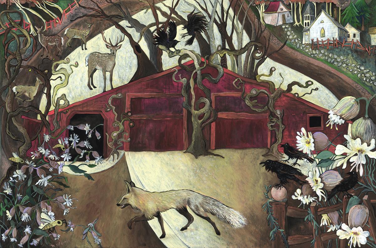 """Red Barn with Fox"" 12"" x 18"" Acrylic gouache on birch panel $900."