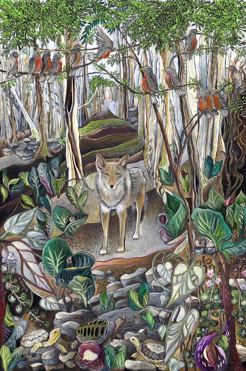 """""""Coyote"""" 18"""" x 12"""" Acrylic on birch panel $900."""