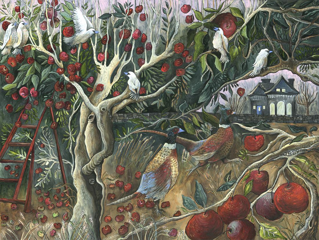 """""""Autumn Orchard"""" 12"""" x 16"""" Acrylic on birch panel $1200."""
