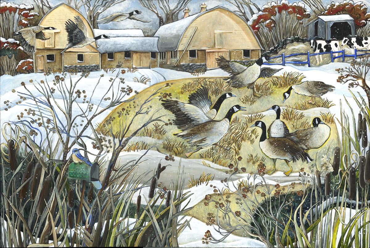 """""""Winter Barns"""" 12"""" x 18"""" Acrylic on birch panel $1200."""