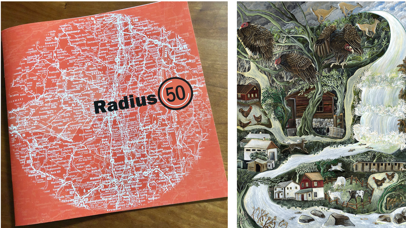 """Catalog from the Radius 50 exhibit and """"Vultures at High Falls',"""" the accepted painting."""