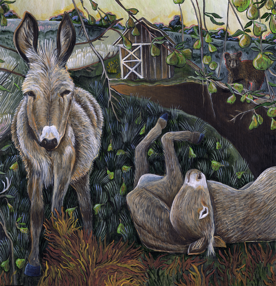 """Donkeys and Pears"" detail."