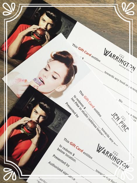 ...buy a gift card -  Gift Cards for The Warrington and makeup services with Jen Pike are available for purchase at The Warrington anytime during regular business hours.  For your convenience, they can also be purchased over the phone via credit card and mailed to you ($3 shipping fee applies).  Please note gift cards are not valid for use on Valentine's Day, Mother's Day or New Year's Eve.  Jen's makeup studio is located on the second floor of The Warrington.  Click here to view her makeup portfolio.